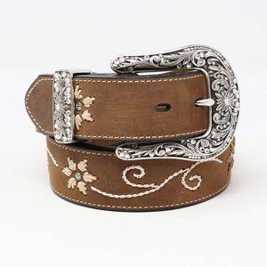 Nocona Embroidered Flower Leather Western Belt